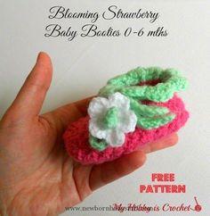 Crochet Baby Booties My Hobby Is Crochet: Blooming Strawberry Crochet Baby Bootie...