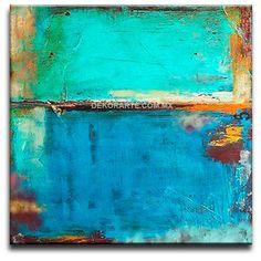 cuadros decorativos abstractos recangulares tonos azules - Buscar con Google