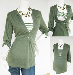 MACY Maternity Clothing/ Nursing Top Breastfeeding Shirt/ Nursing Clothes NEW Original Design GREEN Shirt Pregnancy Clothes on Etsy, $33.00