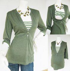 MACY Maternity Clothing/ Nursing Top Breastfeeding Shirt/ Nursing Clothes NEW Original Design GREEN Shirt Pregnancy Clothes on Etsy, $33.00