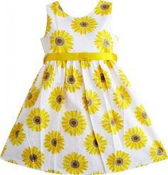 Girls Dress Blue Flower Print Children Clothing Size 2-11