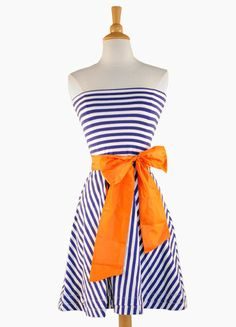 game day dress! I want one blue & white stripe dress please with a red sash for the Rangers & a blue one for the Cowboys!!