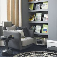 Hang floor-to-ceiling floating shelves for maximum impact Liven up an alcove with wall-to-ceiling shelving. Pick a strong shade, then paint the walls and shelves the same colour as it can make a small space appear bigger. Use a matt paint finish for a sophisticated look.
