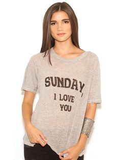 WILDFOX Dear Sunday Perfect Tee in Vintage Lace