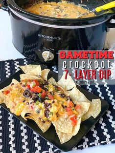 Game Day Recipe Warm Crock-pot dip - all of the delicious layers blend together in your Crock-pot to create the PERFECT hot dip to serve! Healthy Superbowl Snacks, Tailgating Recipes, Appetizers For Party, Appetizer Recipes, Appetizer Ideas, Dip Recipes, Salmon Recipes, Recipies, What's Your Favorite Recipe