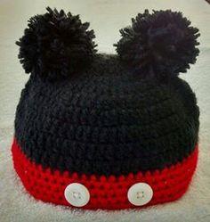 Gorro de lã em crochê - Mickey...