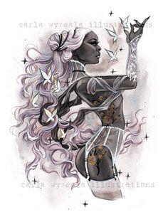 ZODIAC Virgo Burlesque Astrologie Horoscope Pin up Watercolor Giclee Art Print Carla Wyzgala Carlations Art Virgo, Zodiac Art, Aquarius Astrology, Astrology Numerology, Numerology Chart, Art Aquarelle, Watercolor Art, Pin Up, Art Zodiaque