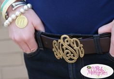 Yes please!  Must have for fall jeans season...Monogrammed belt buckle