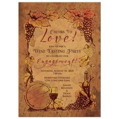 This old world European winery wedding engagement invitation design features a simulated cork background paired with an illustrated border that features a wine barrel,a wine glass, wine bottle, and Wedding Anniversary Invitations, Engagement Party Invitations, Bridal Shower Invitations, Invites, Engagement Party Themes, Wedding Engagement, Country Engagement, Engagement Pictures, Engagement Shoots