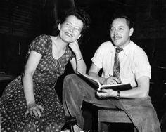 "margo jones & tennessee williams at ""summer and smoke"" rehearsal, new york, 1948"