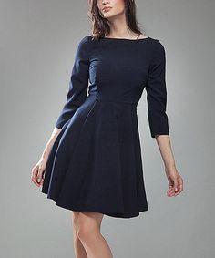 Look at this #zulilyfind! Dark Blue Fit & Flare Dress #zulilyfinds