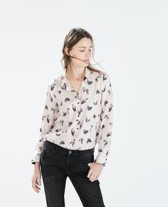 Image 2 of BIRD PRINT SHIRT from Zara