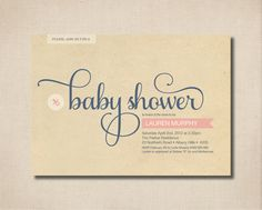 Printable Baby Shower Invitation - Modern design on vintage paper in pink and blue. $15.00, via Etsy.