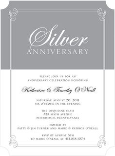 Gray And White Silver Themed Anniversary Formal Party Invitations
