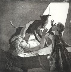 Paula rego Girl with her Mother and a Dog 1987 Etching and hand shaken aquatint x cm Paper: 38 x cm Artist's proof Character Illustration, Graphic Design Illustration, Mario Cesariny, Animal Drawings, Art Drawings, Nadir Afonso, Animal Tails, Figurative Kunst, Francisco Goya