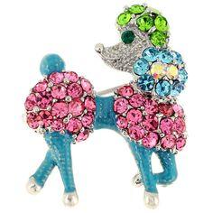 Multicolor Poodle Dog Pin Brooch 0057A