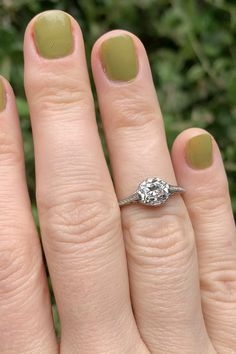 Cushion Cut Diamond Ring, Cushion Cut Diamonds, Diamond Cuts, North South, Diamonds And Gold, Vintage Diamond, 1 Carat, Vintage Engagement Rings, Kaftan