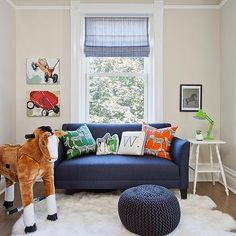 Dark Blue Sofa, Transitional, boy's room, Space Architects & Planners