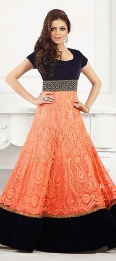 413012, Bollywood Salwar Kameez, Net, Velvet, Thread, Sequence, Resham, Orange Color Family