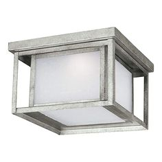 Sea Gull Lighting Hunnington Two-Light Outdoor Flush Mount Ceiling Light with Etched Seeded Glass Panels, Weathered Pewter Finish > Dimmable Etched seeded glass panels Supplied with of wire Outdoor Ceiling Lights, Outdoor Post Lights, Outdoor Wall Lantern, Porch Lighting, Outdoor Walls, Outdoor Lighting, Outdoor Flush Mounts, Lantern Post, Flush Mount Ceiling