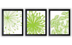 Lime Green White Flower Print Flowers Set of 3 by CustomArtPrints, $3.60