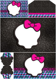 Monster High with Black Background: Free Printable Invitations.