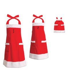 Look at this Red & White Apron Set & Doll Apron - Women & Girls on #zulily today!