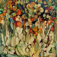 "Lou Jordan Fine Art: Contemporary Alcohol Ink Painting ""Bloomsbury Garden"" by Contemporary New Orleans Artist Lou Jordan"