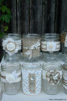 Lace and burlap Mason jar wedding decor Lace Mason Jars, Mason Jar Crafts, Bottles And Jars, Glass Jars, Candle Jars, Burlap Crafts, Diy And Crafts, Diy Wedding, Rustic Wedding