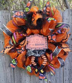 Halloween Decomesh Wreath by MBmartCreations on Etsy