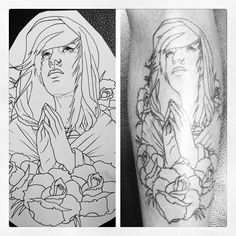 shin outline        #shin #linework #traditional #ink  #praying #roses #tattoo #alternative #outline #kathouse #danika
