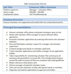 church business administrator job description church volunteer office assistant. Resume Example. Resume CV Cover Letter
