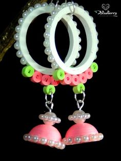 Pink and white pearl quilling hanging earring