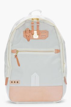 MASTER-PIECE Co Off-white and tan leather Surpass backpack