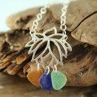 Blooming LOTUS Sterling Silver Necklace GENUINE Sea Glass