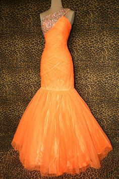 JOVANI Neon Orange Evening Pageant Prom Formal Ball Gala Gown Dress Size 2 | eBay