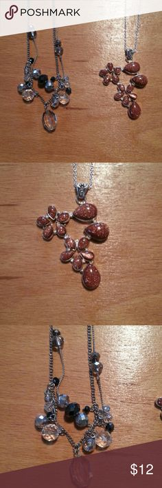 Lot of sterling silver gemstone necklace fashion Lot is 2 necklaces.  Long beaded silver toned metal. The Goldstone necklace is sterling silver. Jewelry Necklaces