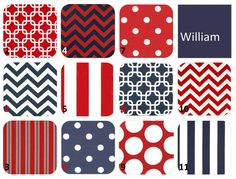 Design Your Own - 4-pc Crib Bedding Set - Navy Blue, Red, White - Bumperless -  William Collection