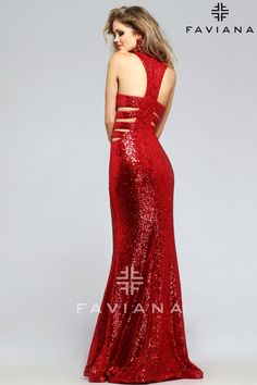 Sequin evening dress with low cut-out back