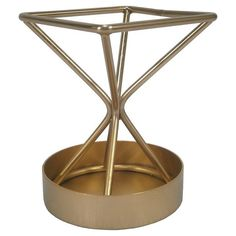 • modern design pencil holder<br>• polished gold finish<br>• triangular, metal construction<br>• ideal for both office and home<br><br>Add an artful touch to your desk with the Pencil Cup - Wire - Threshold™. This unique office accessory features a contemporary triangular design that keeps pens, pencils and other writing tools neatly and stylishly organized