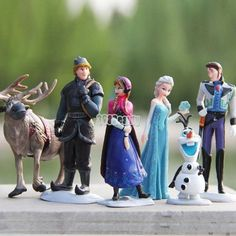 6pcs Disney Frozen Figure Cake Topper Toy Anna Elsa Olaf Hans Sven Kristoff B5UT
