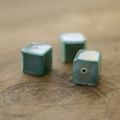 3 Amazing handmade mosaic green shell cubes.  The green color is not dyed. When we cover the bead base with the color resin we want and thanks