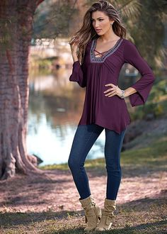 EMBELLISHED BELL SLEEVE TOP, COLOR SKINNY JEAN, KNOTTED SLOUCHY BOOT