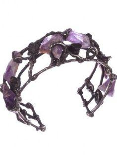 Brutalist Amethyst And Black Tourmaline Bracelet