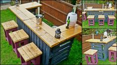 Would use different stools, but like the barGarden Bar made from Reclaimed Timber and Discarded Pallets in furniture pallets 2 with Recycled Pallets outdoor Garden Bar Wooden Pallet Crafts, Diy Pallet Projects, Wooden Pallets, Wooden Diy, Pallet Ideas, Diy Wood, 1001 Pallets, Wooden Boxes, Bar Pallet