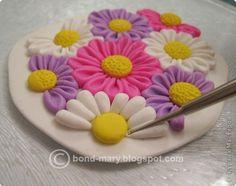 Урок кулон летние цветочки из полимерной глины | Полимерная глина уроки