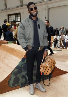 Tinie Tempah Styles With Coach Jacket Sneakers and Bag at London Mens Fashion Week London Mens Fashion, Mens Fashion Week, Tinie Tempah, Grey Bomber Jacket, Winter Outfits Men, Black Outfits, Urban Fashion, Men's Fashion, Fashion Black