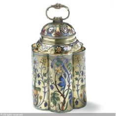 Tea Caddy Silver and Enamel c. 1899-1908, Russia, KHLEBNIKOV Ivan Petrovich