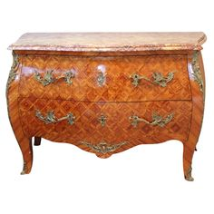 French Antique Louis XV Style Bombe Commode in Rosewood