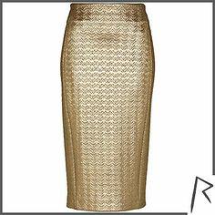 #RihannaforRiverIsland Gold Rihanna embossed zip pencil skirt. #RIHpintowin click here for more details >  http://www.pinterest.com/pin/115334440431063974/